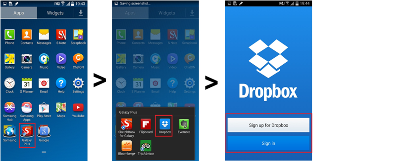 use Dropbox to backup your samsung files