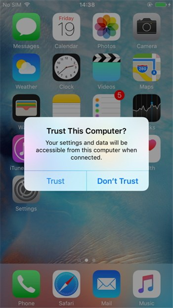 Confirm Trust your iPhone