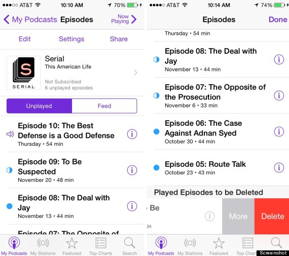 Remove old podcasts and videos on iPhone