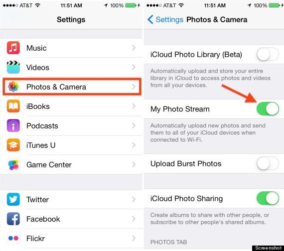 Stop using Photo Stream on iPhone