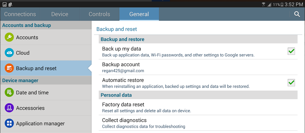 backup and restore android data