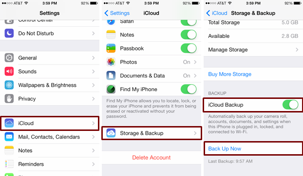 backup iPhone to iCloud before iOS 10 update