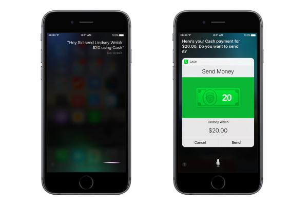 Siri quickly using Square Cash transfers to a friend