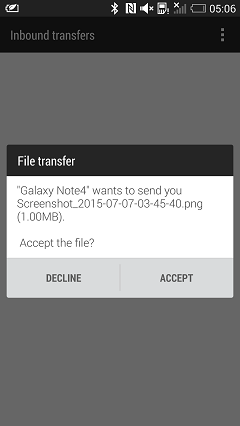 Transfer Files between two Android phone via Bluetooth