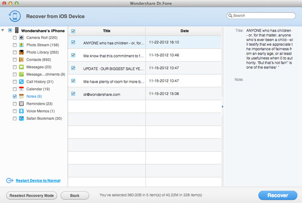 recover lost notes from iPhone and iPad