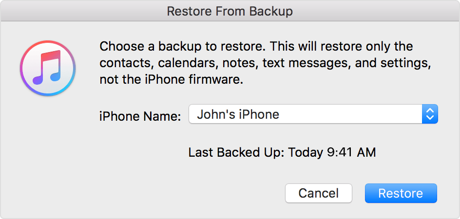 resotre WhatsApp messages from iTunes backup