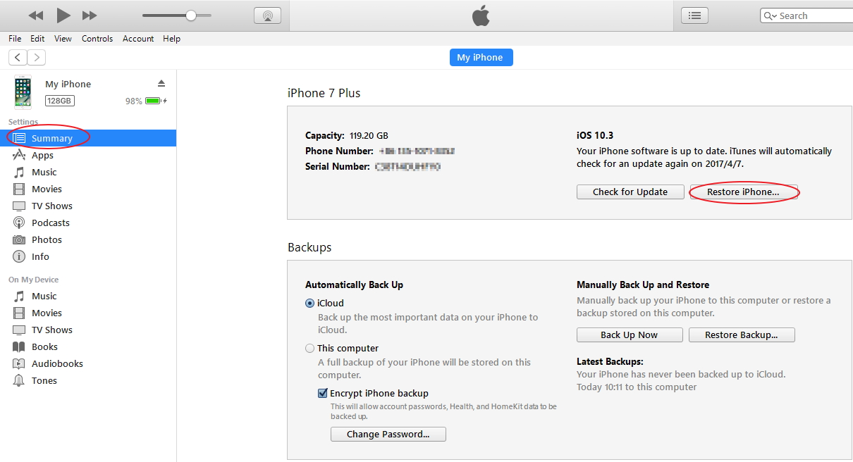 restore iPhone data from iTunes