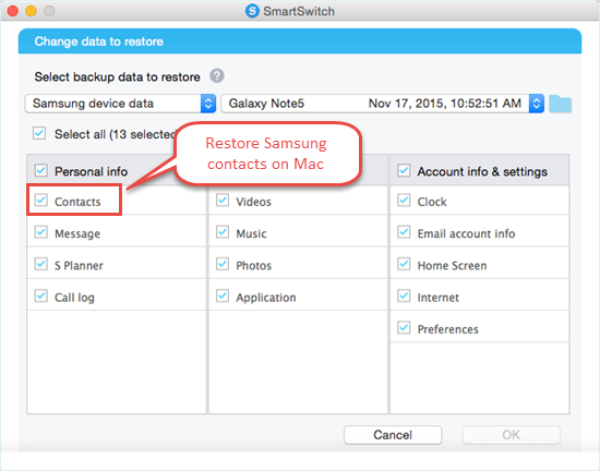 restore Samsung ccontacts via Smart Switch