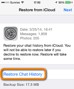restore whatsapp messages from iCloud backups