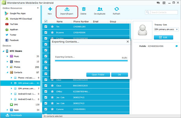 backup transfer contacts from android or to android with mobilego