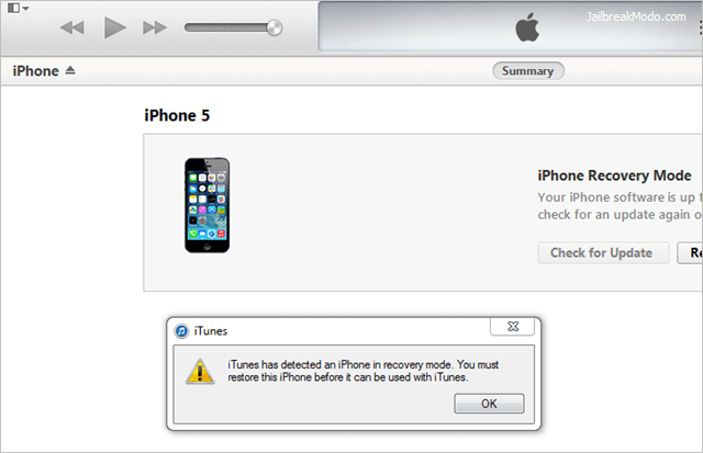 Unable to restore iphone 5 using itunes