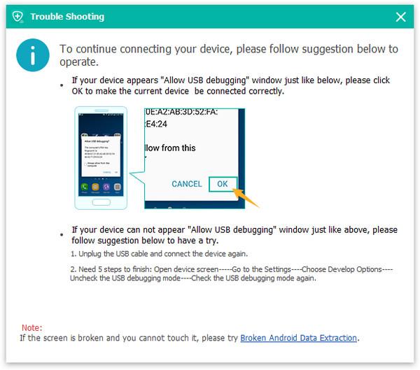 allow USB debugging on Samsung S6