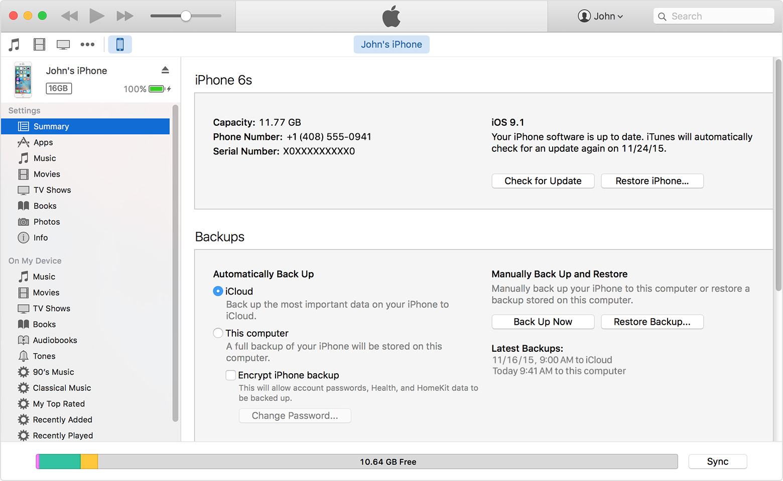 backup iphone data by iTunes