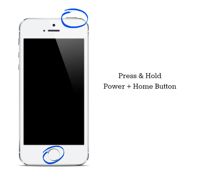 press and hold home power to fix blue screen iphone