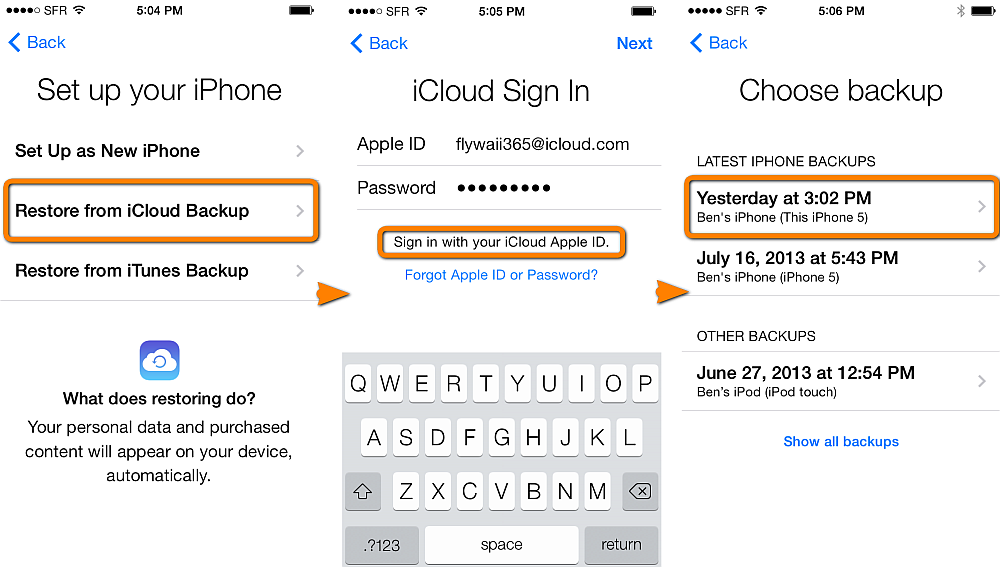 recover data from iPhone backup by iCloud
