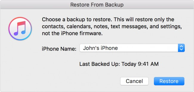 restore iTunes backup files to iPhone