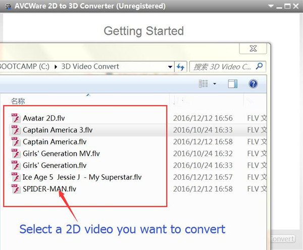 add 2D movies to convert