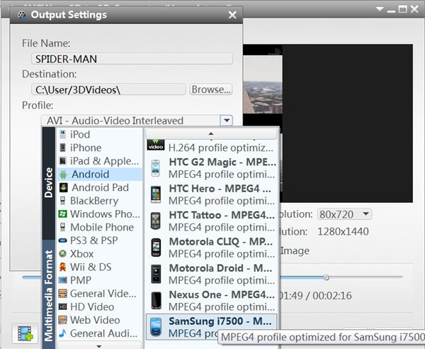 setting 3D output format