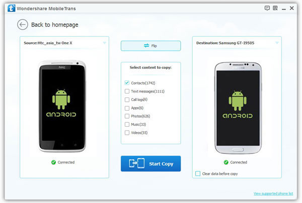 Transfer contacts between android HTC and Samsung
